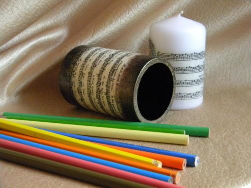 декупаж, карандашница, свечи, dekupažas, pieštukinė, žvakės, decoupage, candle, pencil box