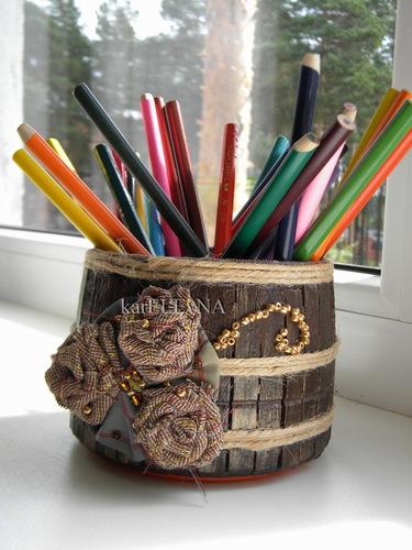 карандашница из прищепок karELEvNA stand for pencils of pegs