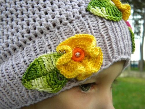 Вязание крючком шапочка для девочки для осень 28