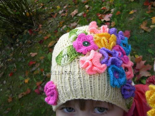 Вязание крючком шапочка для девочки для осень 80
