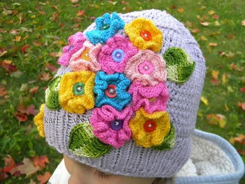 Вязание крючком шапочка для девочки для осень 58