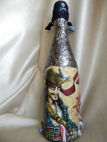 бутылка, шампанское, пират, декупаж, ракушки, butelis, šampanas, dekupažas, piratas, karELEvNA, bottle, decoupage, pirate, corsair